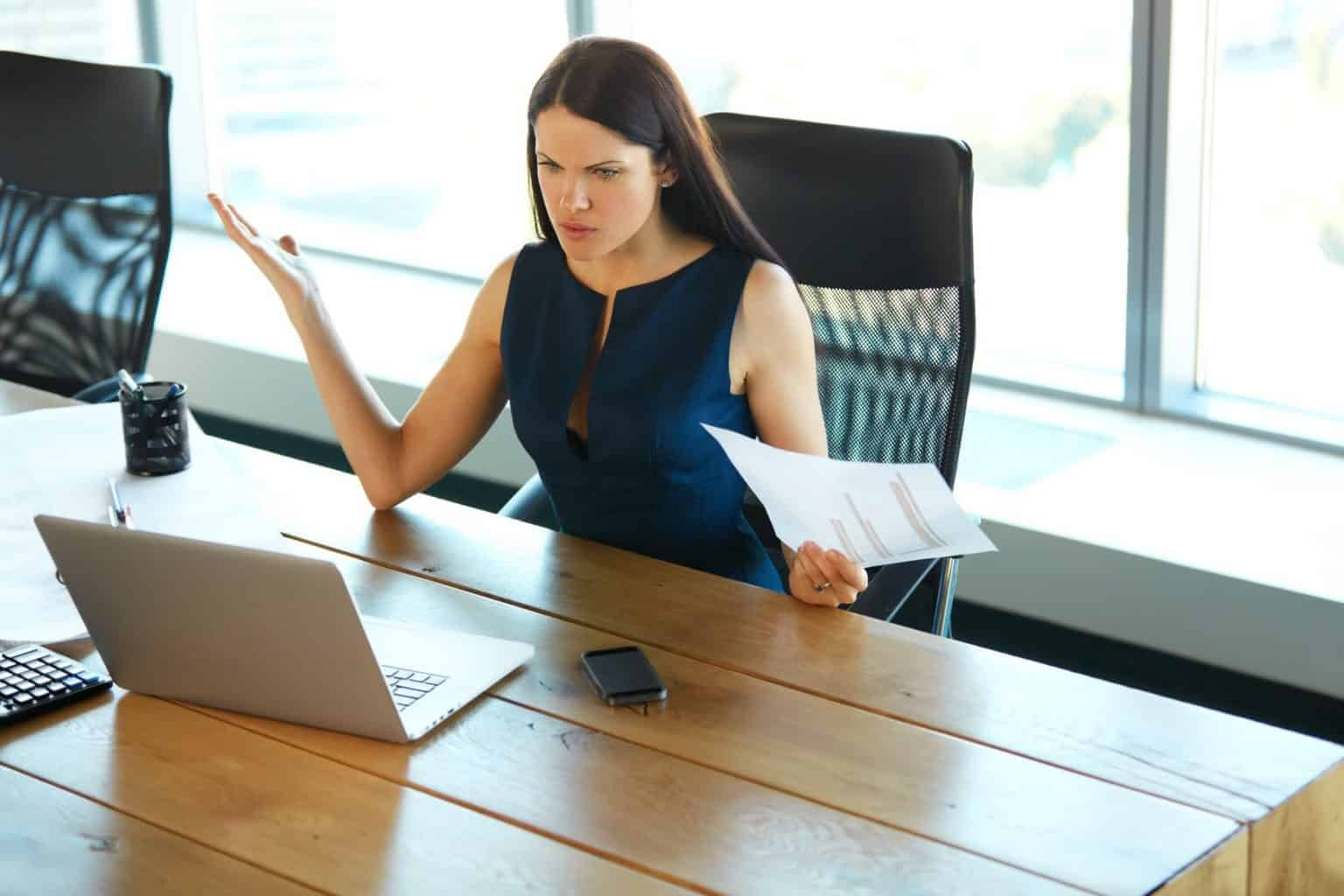 Businesswoman receiving questionable advice to access super