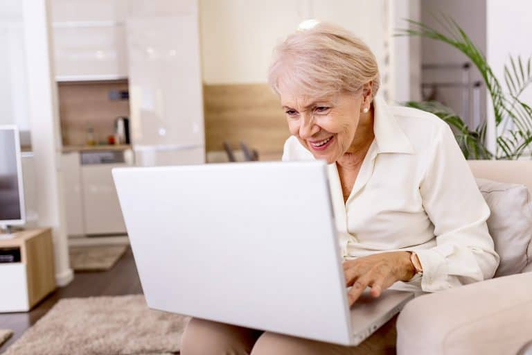 Senior woman participating in Virtual Social Centre