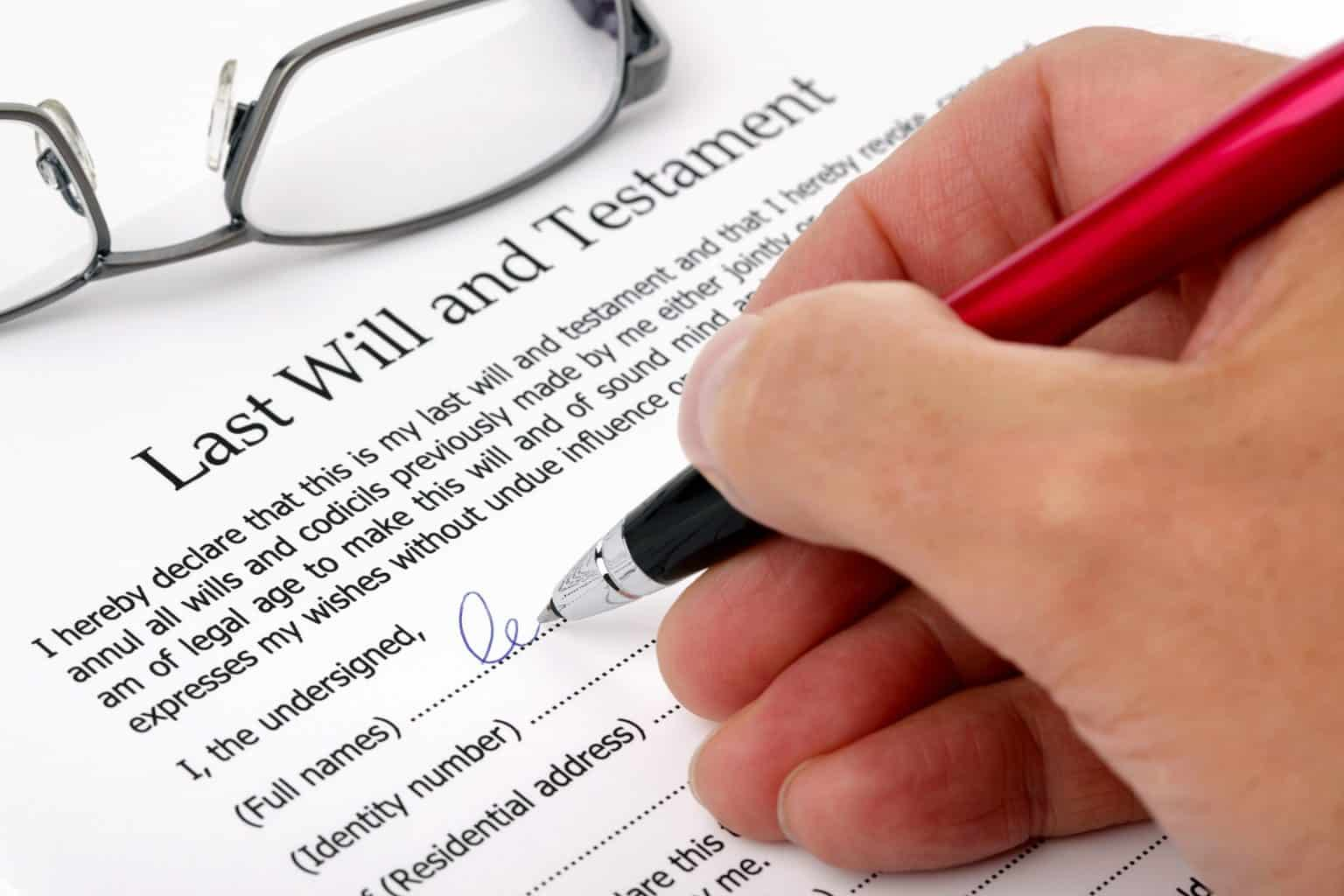 Signing of a Will as part of estate planning process
