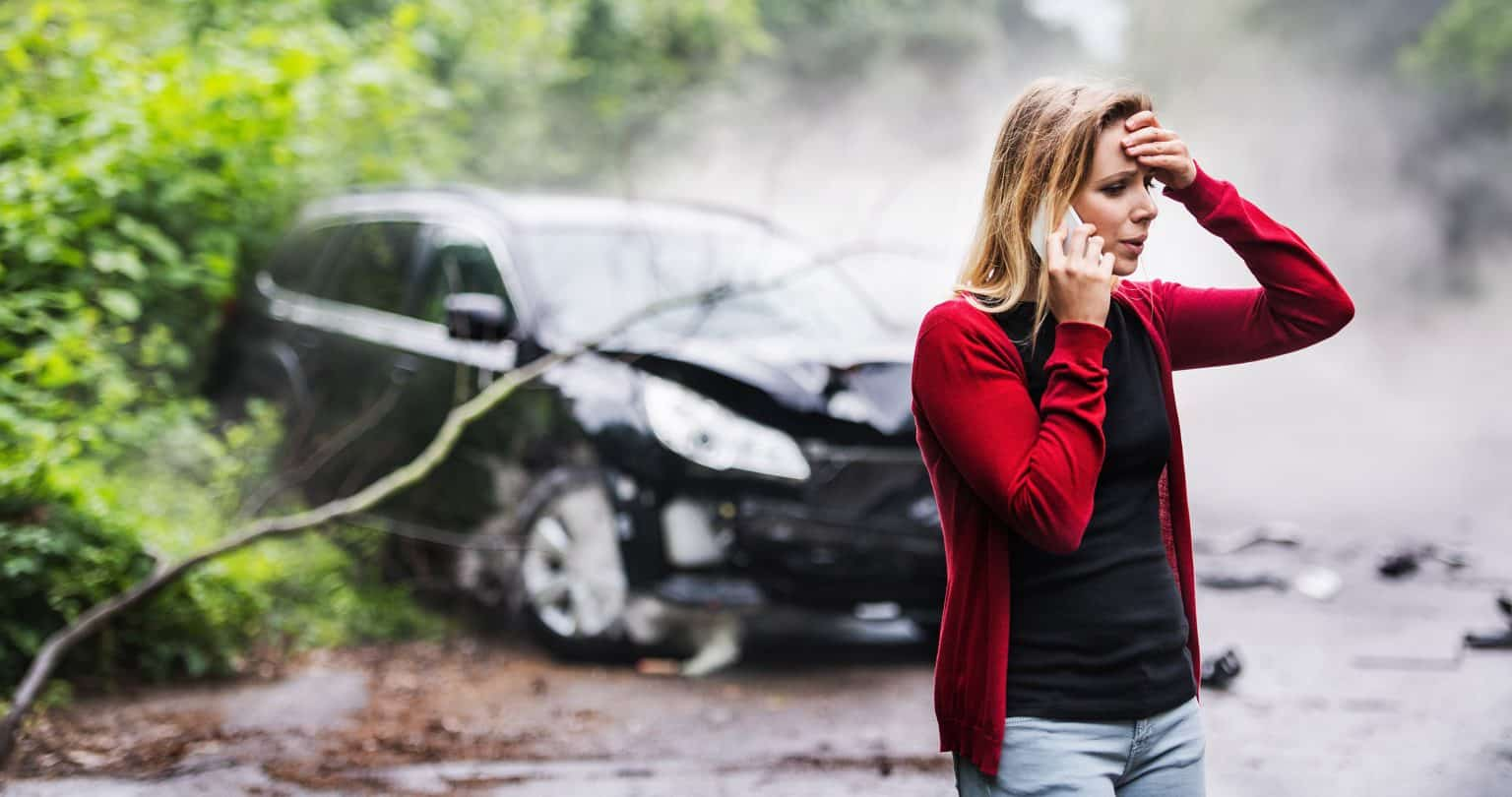 woman involved in motor vehicle accident is in shock
