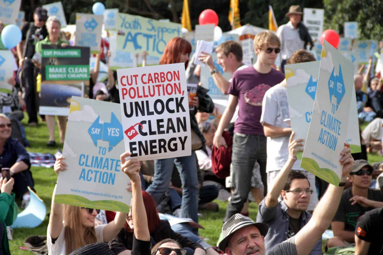 climate change activists protesting for climate change action